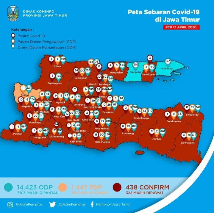 Positif Covid 19 Jatim 438 Orang 76 Orang Sembuh Zona Merah 33 Daerah Situs Resmi Badan Penanggulangan Bencana Daerah Provinsi Jawa Timur